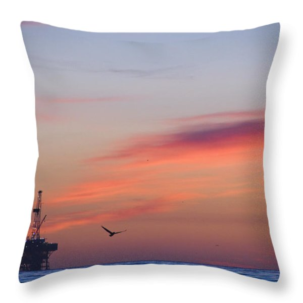 Offshore Oil And Gas Rig In The Pacific Throw Pillow by James Forte