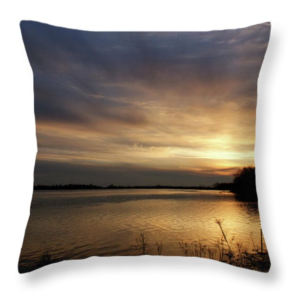 Ohio River Sunset Throw Pillow by Sandy Keeton