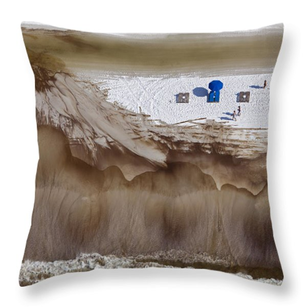 Oil-covered White Sands Of Orange Beach Throw Pillow by Tyrone Turner