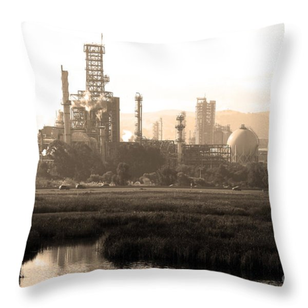 Oil Refinery Industrial Plant In Martinez California . 7D10364 . sepia Throw Pillow by Wingsdomain Art and Photography