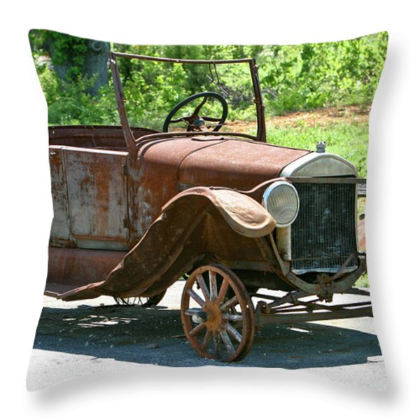 Old Antique Vehicle Throw Pillow by Douglas Barnett