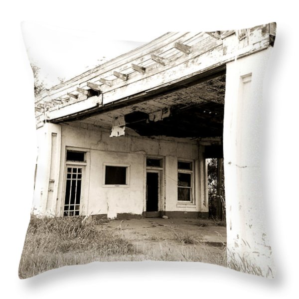 Old Art Deco Filling Station Throw Pillow by Marilyn Hunt