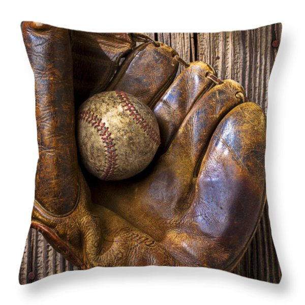 Old baseball mitt and ball Throw Pillow by Garry Gay