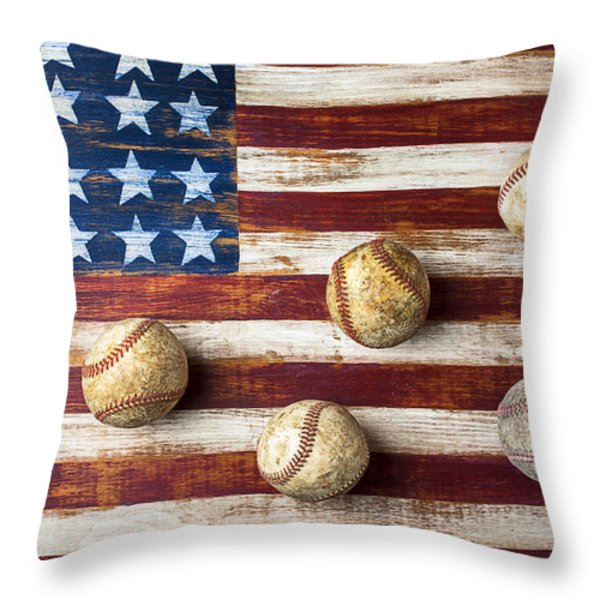 Old baseballs on folk art flag Throw Pillow by Garry Gay
