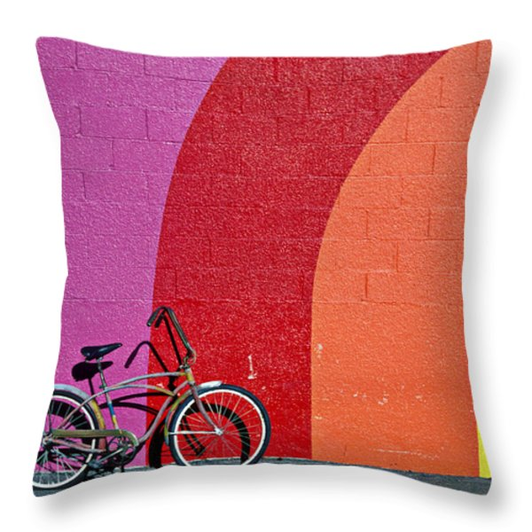 Old Bike Throw Pillow by Garry Gay