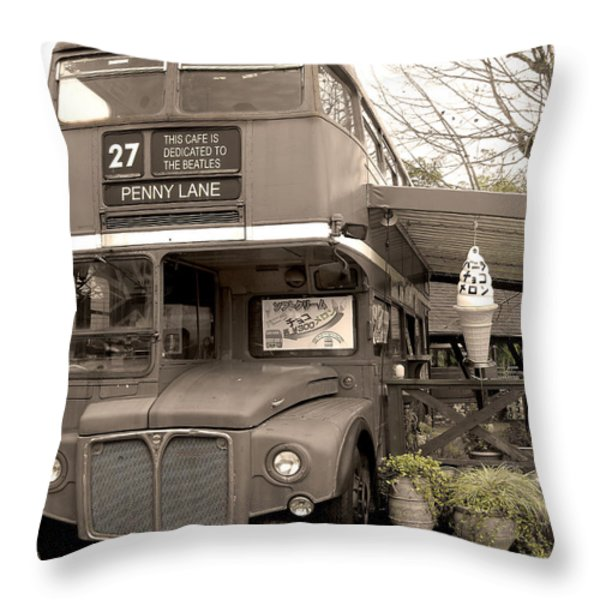 Old Bus Cafe Throw Pillow by Eena Bo