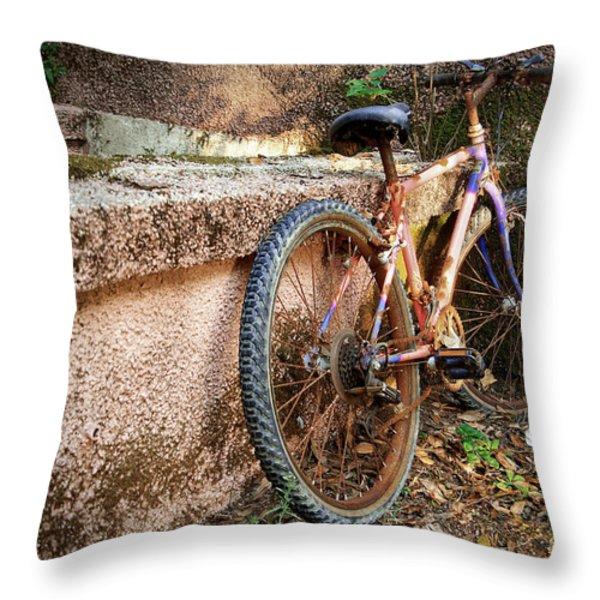 Old Bycicle Throw Pillow by Carlos Caetano