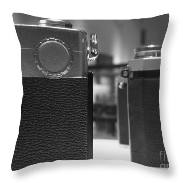 Old Camera Line-up Throw Pillow by Yali Shi