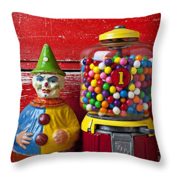 Old clown toy and gum machine  Throw Pillow by Garry Gay