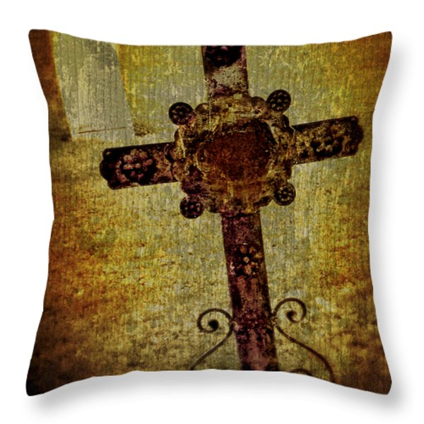 Old Cross Throw Pillow by Perry Webster