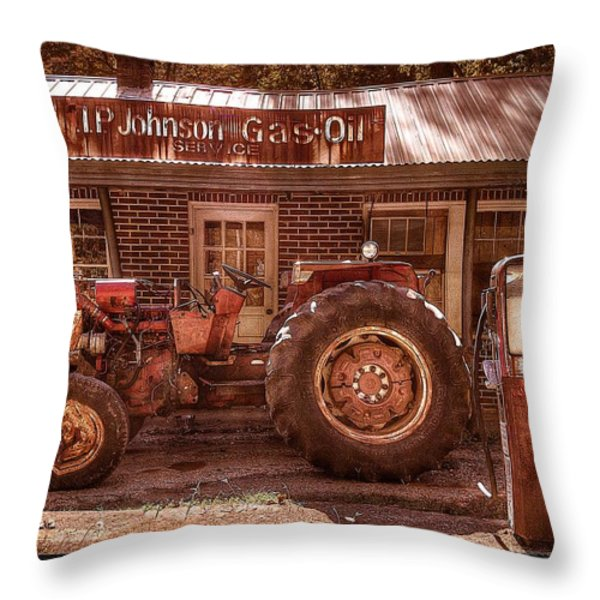 Old Days Vintage Throw Pillow by Debra and Dave Vanderlaan