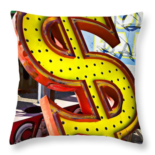 Old dollar sign Throw Pillow by Garry Gay