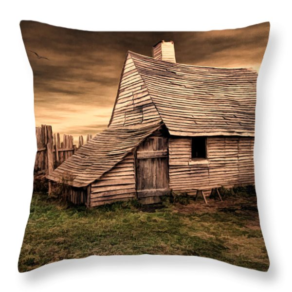 Old English Barn Throw Pillow by Lourry Legarde