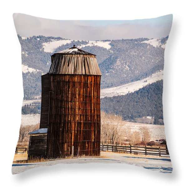 Old Farm Buildings Throw Pillow by Sue Smith