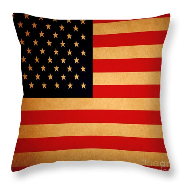 Old Glory . Square Throw Pillow by Wingsdomain Art and Photography