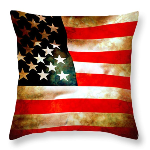 Old Glory Patriot Flag Throw Pillow by Phill Petrovic