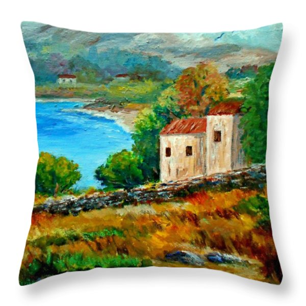 Old House In Mani Throw Pillow by Constantinos Charalampopoulos
