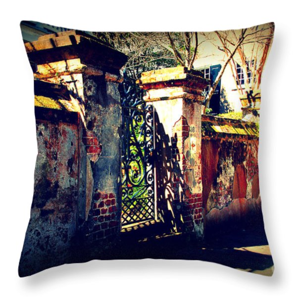 Old Iron Gate In Charleston Sc Throw Pillow by Susanne Van Hulst