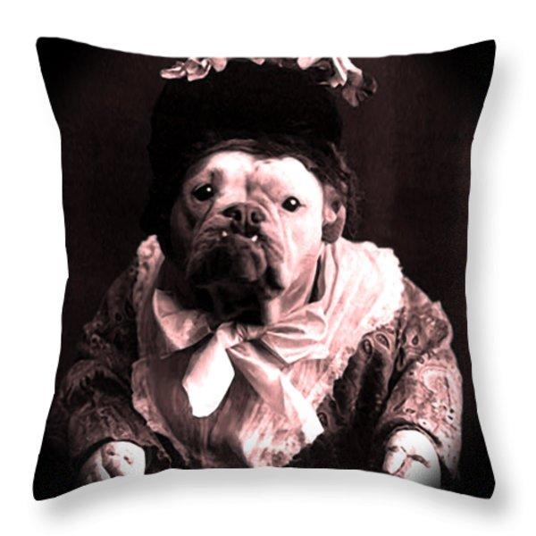 Old Lady English Bulldog Throw Pillow by Tisha McGee
