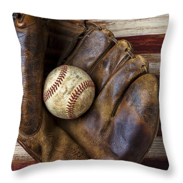 Old Mitt And Baseball Throw Pillow by Garry Gay