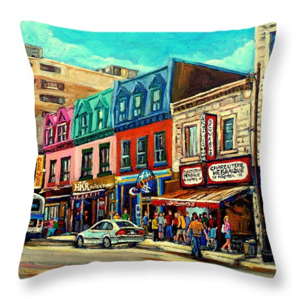 Old Montreal Schwartzs Deli Plateau Montreal City Scenes Throw Pillow by Carole Spandau