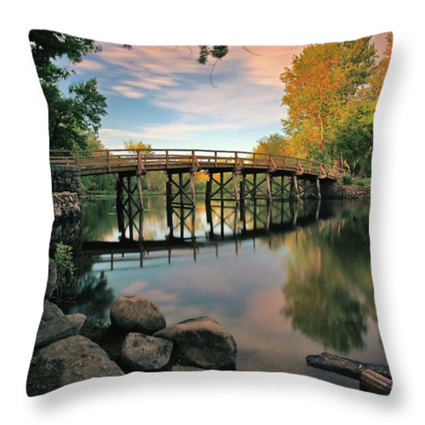Old North Bridge Throw Pillow by Rick Berk