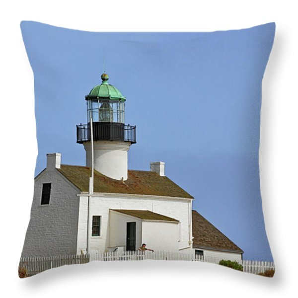 Old Point Loma Lighthouse San Diego California Throw Pillow by Christine Till