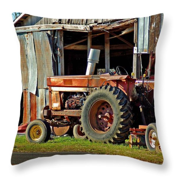 Old Red Tractor And The Barn Throw Pillow by Michael Thomas