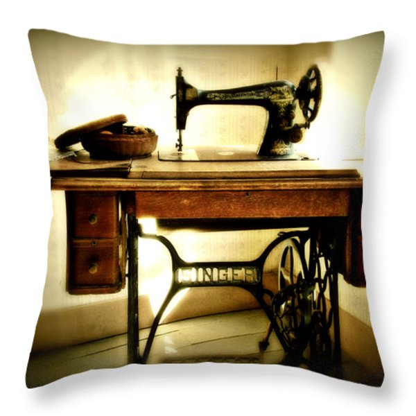 Old Singer Throw Pillow by Perry Webster