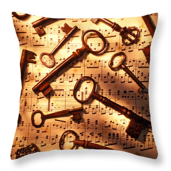 Old skeleton keys on sheet music Throw Pillow by Garry Gay