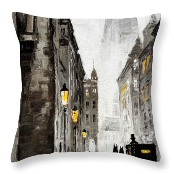 Old Street Throw Pillow by Yuriy  Shevchuk