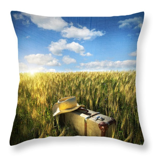 Old Suitcase With Straw Hat In Field Throw Pillow by Sandra Cunningham