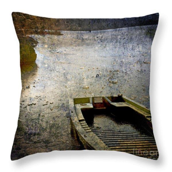 Old sunken boat. Throw Pillow by BERNARD JAUBERT