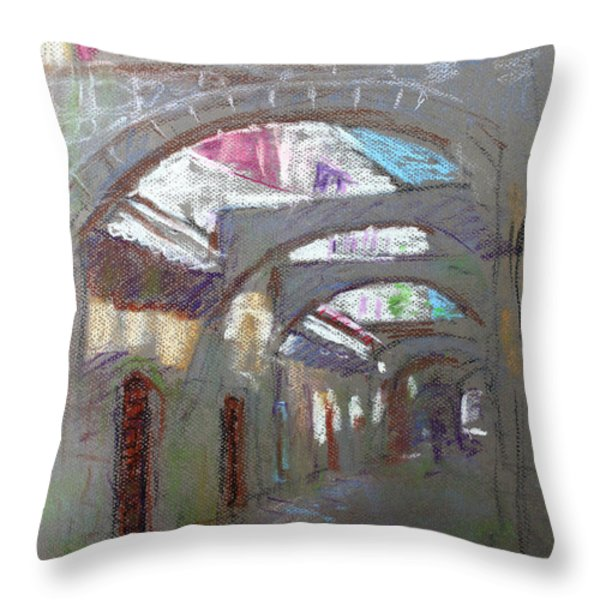 Old Town in Rhodes  Greece Throw Pillow by Ylli Haruni