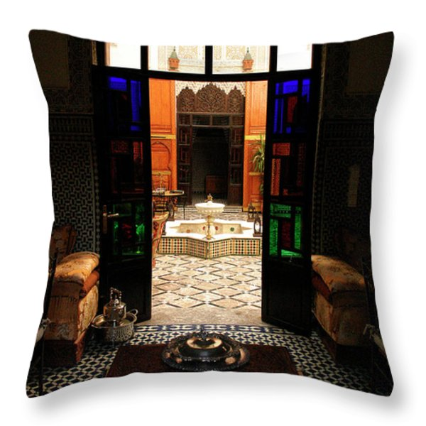 Old Traditional Riad In Fez Throw Pillow by Ralph A  Ledergerber-Photography
