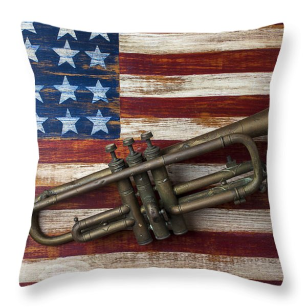 Old Trumpet On American Flag Throw Pillow by Garry Gay