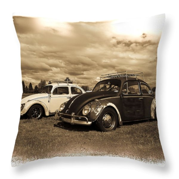 Old Vw Beetles Throw Pillow by Steve McKinzie