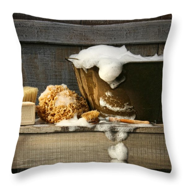 Old Wash Tub With Soap On Bench Throw Pillow by Sandra Cunningham