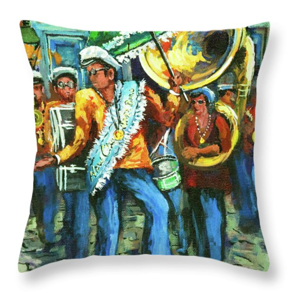Olympia Brass Band Throw Pillow by Dianne Parks