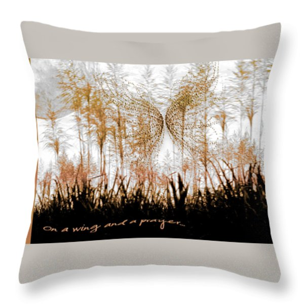 On a Wing and a Prayer Throw Pillow by Holly Kempe