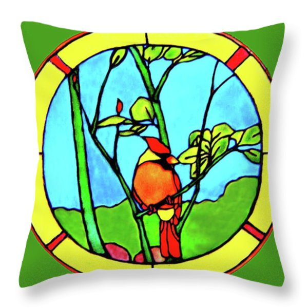 On The Branch Throw Pillow by Farah Faizal