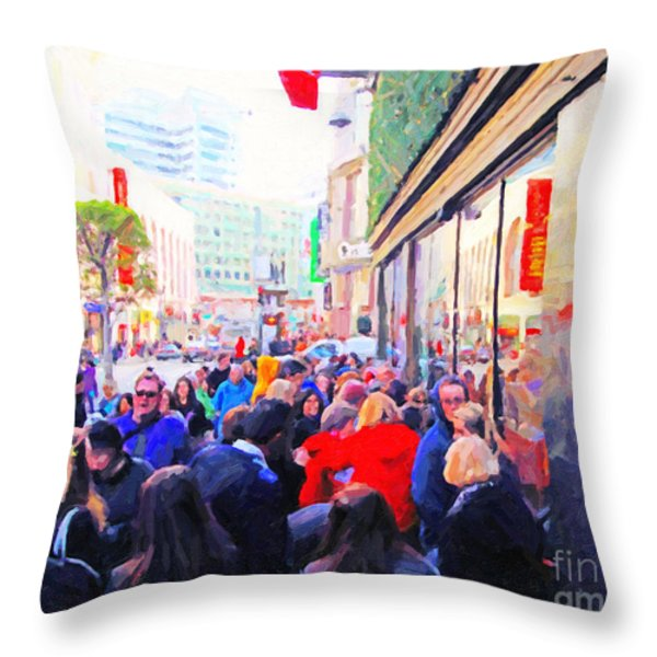 On The Day Before Christmas . Stockton Street San Francisco . Photo Artwork Throw Pillow by Wingsdomain Art and Photography