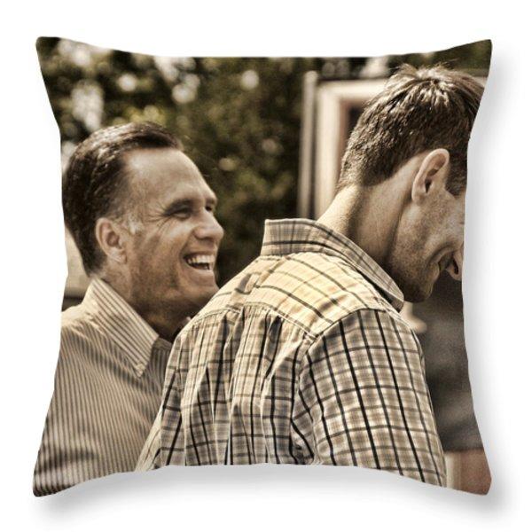 On the Road-Mitt Romney Throw Pillow by Joann Vitali
