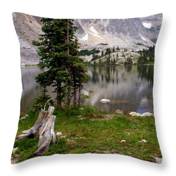 On the Snowy Mountain Loop Throw Pillow by Marty Koch