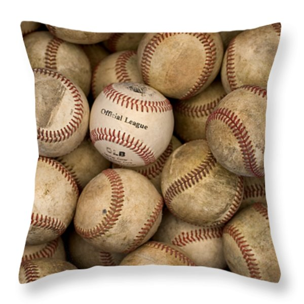One Clean Baseball Sitting In A Pile Throw Pillow by Phil Schermeister