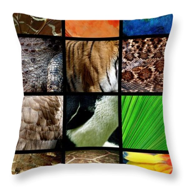 One Day At The Zoo Throw Pillow by Michelle Calkins