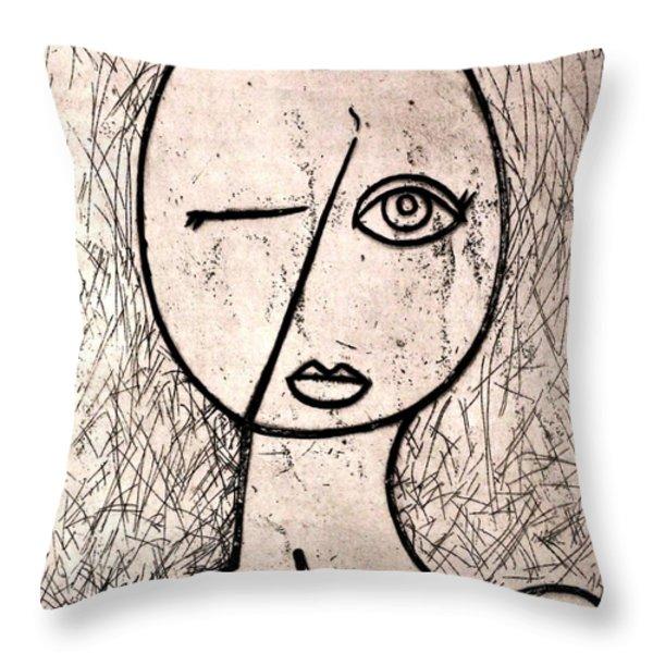 One Eye Throw Pillow by Thomas Valentine