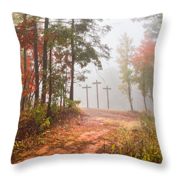 One Way Throw Pillow by Debra and Dave Vanderlaan