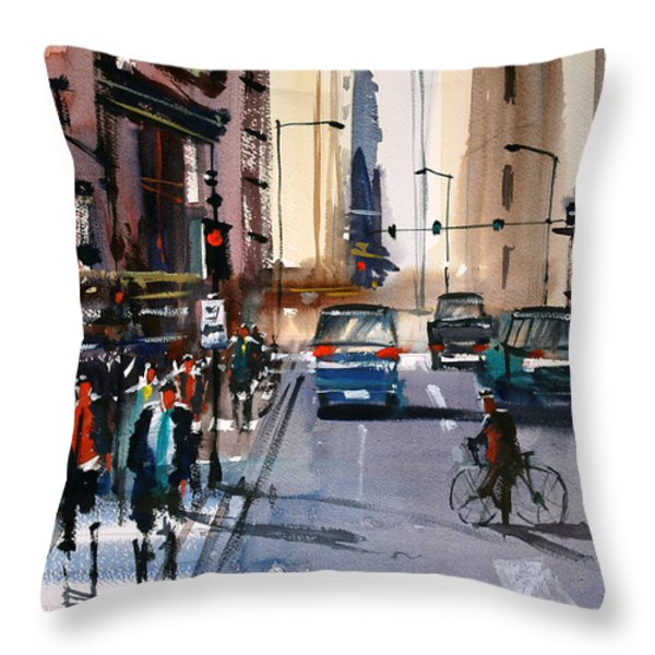 One Way Street - Chicago Throw Pillow by Ryan Radke