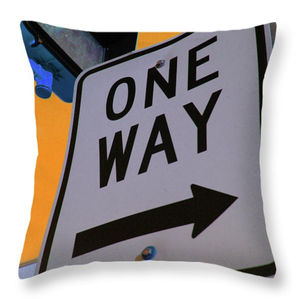 Only One Way Throw Pillow by Karol Livote